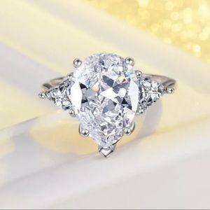 Jewelry - 💎WOW💎 5 Carat Pear Cut CZ 925 Sterling Ring Sz 7
